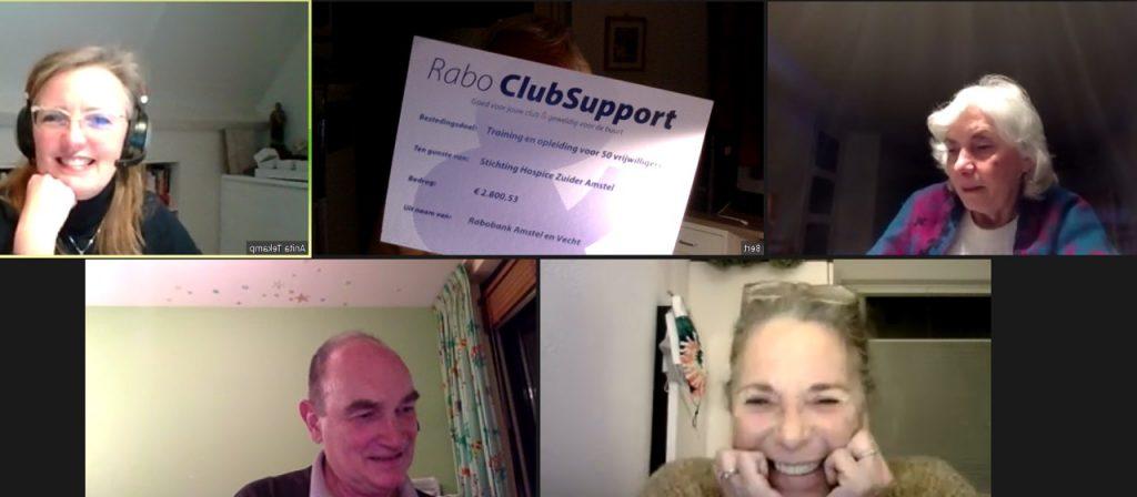 Rabobank ClubSupport donatie voor Hospice Zuider-Amstel